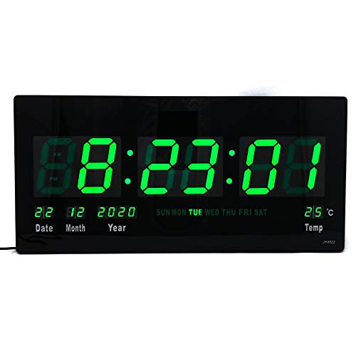 Starlet24 LED Wanduhr mit Timer Wecker Schlummer Kalender Temperatur große LED-Anzeige 45x22cm (JH4622) Grün