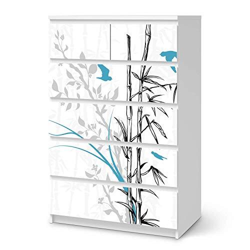 creatisto Möbelfolie selbstklebend passend für IKEA Malm Kommode 6 Schubladen (hoch) I Möbeldeko - Möbel-Aufkleber Folie Tattoo I Wohndeko für Esszimmer und Wohnzimmer - Design: Bamboo 1