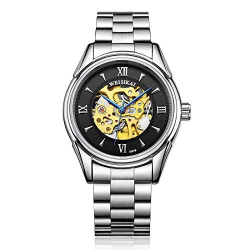 Reloj de Moda Esqueleto mecánico de Acero Inoxidable para Hombre Impermeable automático -B