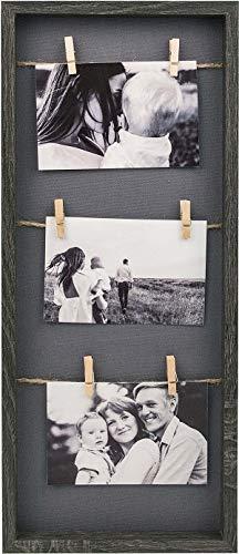 Gallery Solutions Bilderrahmen Collage Wäscheleine mit Klammern 3 Fotos à 10x15 cm, Schwarz