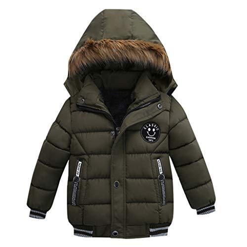 HDUFGJ Jungen Mädchen Steppjacke Kinderjacke Winterjacke Warme Gegütterte Kapuzenjacke Baumwollkleidung110(Grün)