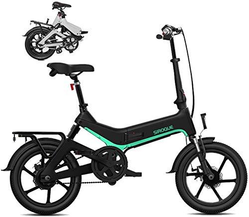 Bici electrica, E-bici plegable de 16 pulgadas elecrtic bicicletas extraíble 36V7.8AH impermeable a prueba de polvo y una batería de litio, luz Ultra-Frame de aleación de magnesio, faros LED y pantall