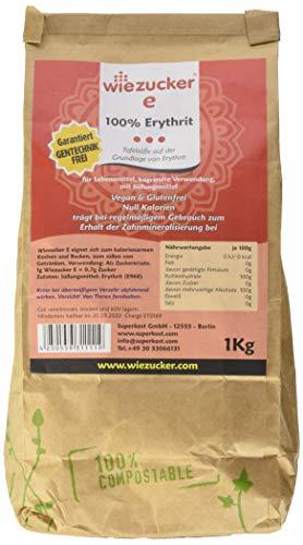 Wiezucker Erythrit 1kg | kalorienfrei | in Plastikfreier, umweltfreundlicher, Verpackung 1er Pack (1 x 1kg )