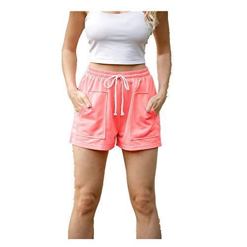 All-Match - Pantalones cortos para mujer, de verano, casual, para mujer, sueltos, pantalones cortos, para ocio, mujer, entrenamiento, cintura ajustada, pantalones cortos elásticos