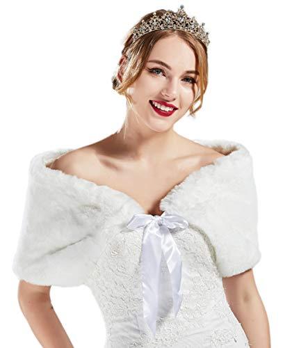 Coucoland Kunstpelz Hochzeit Braut Schal Stola mit Satin Band Bolero Schulter Bedeckung für Brautkleid Damen Flauschig Weich Faux Pelz Umschlagtuch (Weiß)