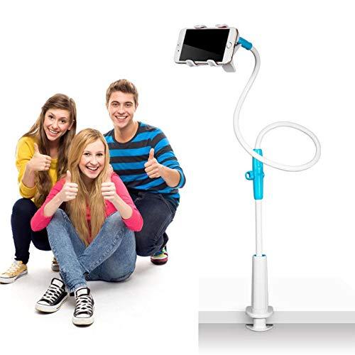 FTIK Soporte para teléfono móvil con Cuello de Cisne,Universal Flexible teléfono Soporte Soporte para Tablet,para Smartphone, Tablet, Cuello de Cisne, Brazo Largo Flexible 130cm Azul