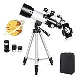 Telescopio Astronómico Zoom HD 400/70 mm de Alta Ampliación Alcance de Viaje con Trípode, Portátil Equipado con Mochila y Adaptador de Teléfono Inteligente para Adultos, Niños y Principiantes