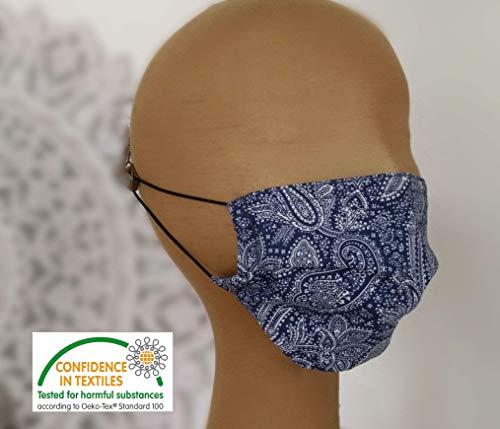 schicke Mund-Nasen-Maske 60° waschbar 2-lagig blau weiß Motiv Paisley Innenfutter schadstoffgeprüft Nasenbügel Gummiband Behelfsmaske Damen Frauen (ugs. Mundschutz Maske) JUSCHU-bag