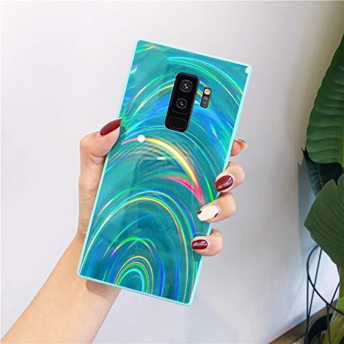 Herbests Kompatibel mit Samsung Galaxy S9 Plus Hülle Glitzer Glänzend Kristall Aurora Bunte Weich Silikon Handyhülle Ultra dünn Schutzhülle TPU Bumper Handytasche Crystal Case Cover,Grün