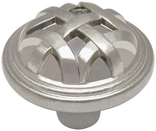 25 Pack - Cosmas 7064SN Satin Nickel Braided Cabinet Hardware Round Knob - 1-1/4
