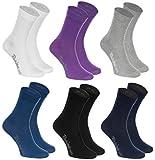 Rainbow Socks - Hombre Mujer Calcetines Colores de Algodón - 6 Pares - Blanco Púrpura Gris Azul Marino Negro Azul de Vaqueros - Talla 44-46