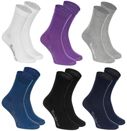 Rainbow Socks - Damen Herren Klassische Bunte Baumwolle Socken - 6 Paar - Weiß Lila Grau Blau Marine Schwarz - Größen 36-38