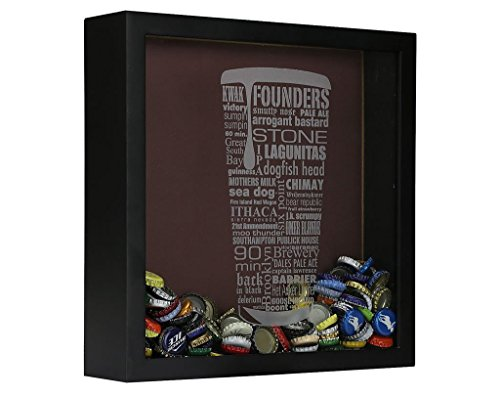 Craft Beer Typography Beer Cap Shadow Box Beer Cap Collector, Black