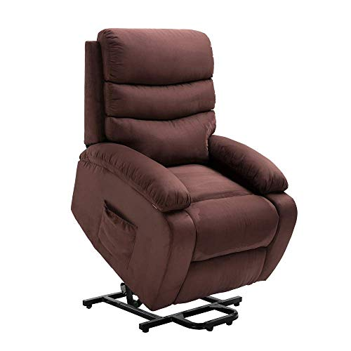 Homegear 2-Remote Microfiber Power Lift Electric Recliner Chair with Massage, Heat and Vibration (Brown)