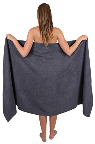 Betz Badetuch groß XXL Größe 100 x 200 cm Badetücher Saunatuch Palermo 100% Baumwolle Farbe Anthrazit Grau