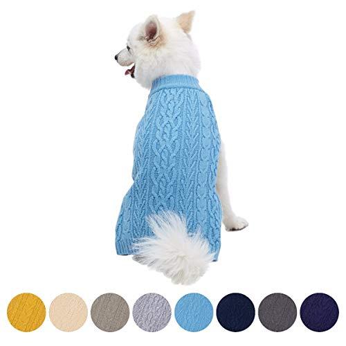Blueberry Pet Meisterhaftes Klassisches Zopfmuster Alaska-Blauer Hundepulli, Rückenlänge 41cm, Einzelpackung Hundebekleidung