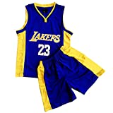 Daoseng Juego de 2 piezas de baloncesto para niños #23 de baloncesto y pantalones cortos, púrpura, M/Child Height 125-135CM