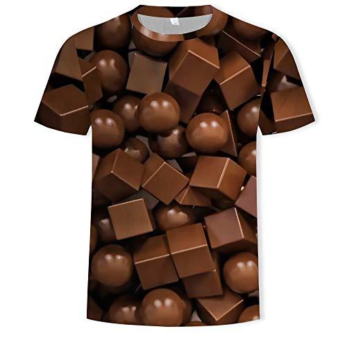 ADDG Chocolade 3D Digital Printing mannen T-Shirt Casual Losse Korte mouw Top