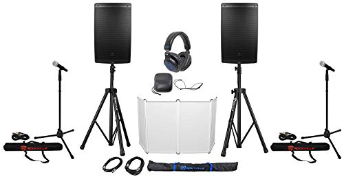 Buy Discount DJ Package w/ (2) JBL EON615 15 Speakers+Stands+Cables+Mics+Headphones+Facade