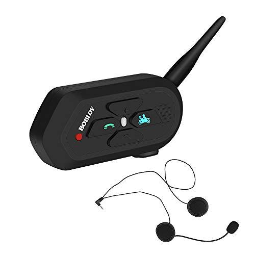 Intercomunicador Casco Motocicleta,Boblov V6 Pro 1200M Auriculares Intercomunicador Moto Bluetooth Intercom Headset (1 Paquete)