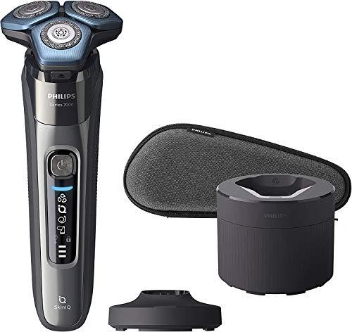 Philips S7000 S7788/55 - Afeitadora eléctrica para hombre con tecnología Skin-IQ, cortapatillas, seco/húmedo, con base de carga, base de limpieza y funda premium