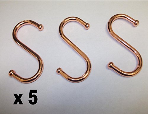 5 x 75mm Coppered Metal S Hooks Copper Coated Ball End Kitchen Utensil Tools Hanging Garden