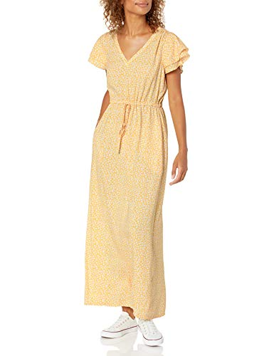 Goodthreads Georgette Ruffle-Sleeve Maxi Dresses, Gelber Blumendruck, XS