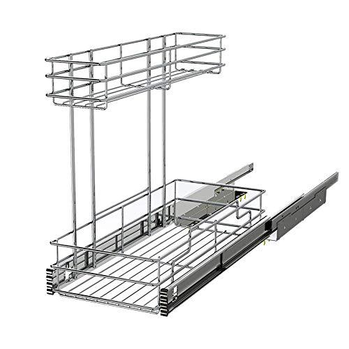 STORKING 2 Tier Under Sink Pull Out Cabinet Organizer Slide Wire Shelf Basket for Kitchen Base Cabinets 9