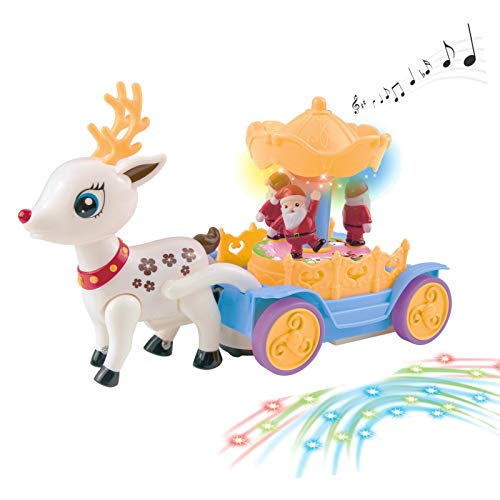 Vokodo Musical Walking Reindeer with Beautiful Rotating Santa Claus Carousel Kids Toy Music Box Self Riding Deer Lights Sound Bump and Go Action Great Gift for Preschool Children Boys Girls Toddlers
