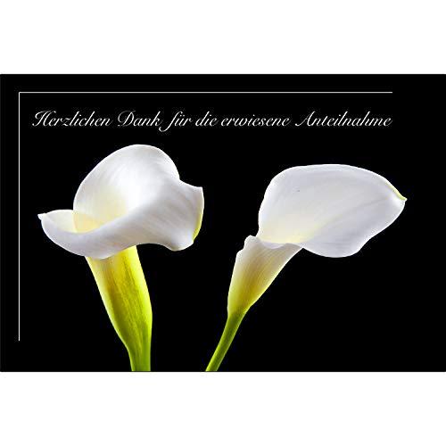 20 Stück einfühlsame Premium Danksagungskarten im Set mit 20 weiße Umschlägen - Trauerkarte, Anteilnahme Stiller Trauer Sterbefall Todesfall Beerdigung Mitgefühl Trauer - bedanken - Danke