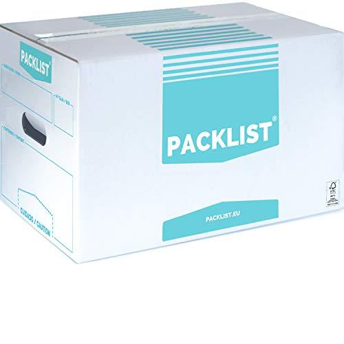 PACKLIST 20 Cajas Cartón Mudanza Personalizables + APP Inventario y PDF - Cajas Mudanza Resistentes de Calidad - Cajas de Cartón Mudanza Ecológicas - Caja Mudanza con Certificado de Sostenibilidad FSC