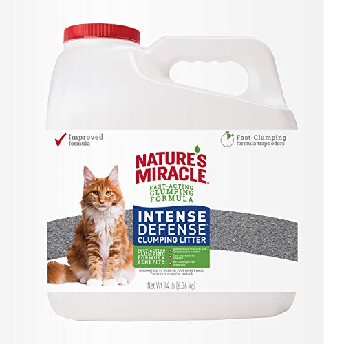 Nature's Miracle Intense Defense Clumping Litter, 14 Pounds, Jug, Super Absorbent Fast-Clumping Formula, 99% Dust Free