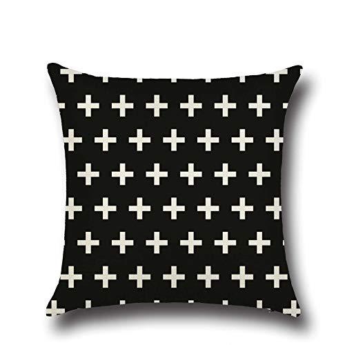 PPMP Funda de cojín Negra con Letras geométricas para sofá, Funda de Almohada para Dormitorio, decoración del hogar, Funda de Almohada para abrazar, Funda de cojín A18, 45x45cm, 2pcs