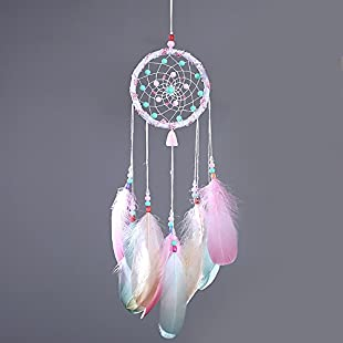 Lembeauty Handmade Colorful Dream Catcher Circular Net with Feathers Beads for Wall Car Hanging Decoration Ornament Craft Gift