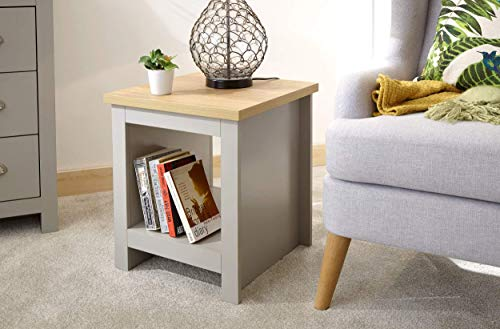 GFW - The Furniture Warehouse Lancaster Grey & Oak Coloured Occasional Range - Tables Sideboard Tv Cabinets#Side Table with Shelf