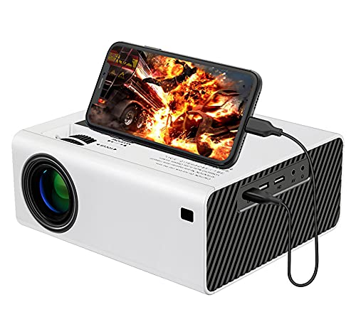 Xyfw Mini Proyector LED, 5000 Lux, Compatible con Full HD 1080P Sync Phone 3D Home Theater Video Proyector