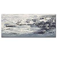 ファッション石で波を印刷する風景抽象的な油絵をキャンバスに海景絵画をキャンバスにリビングルームのソファクアドロスの装飾30x90cm