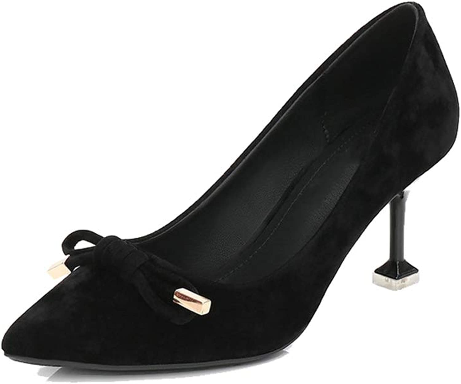 Sam Carle Women's Pumps,Suede Bow-Knot Kitten Heel Comfortable Solid color Office shoes