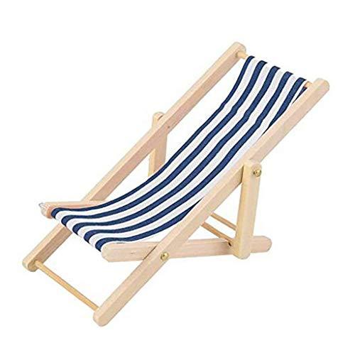 Fliyeong - Silla de playa plegable en miniatura, diseño de rayas, color azul
