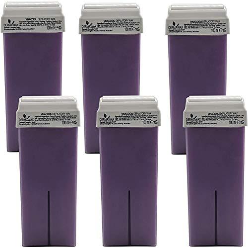 Uvas Dermawax 6 piezas de cartuchos de cera roll-on de 100 ml, cartuchos de cera tibia, cera depilatoria, depilación con cera tibia, cuidado del cuerpo