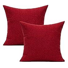 All Smiles Rojo Claro burdeos Exterior Fundas de cojín y Almohada Decorativas para Patio Decoración del Hogar de Navidad Para Sofá y Cama de 45x45CM,2PC