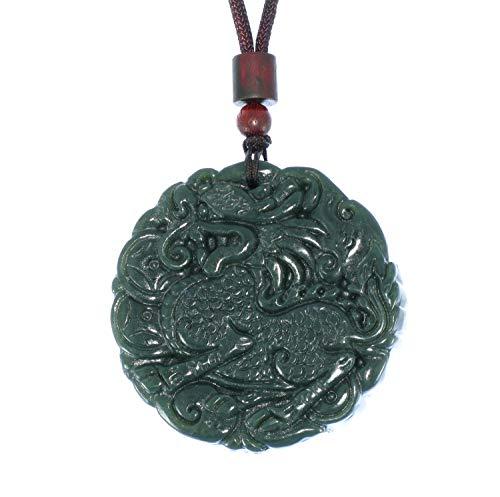 JL 6183 Collier avec Pendentif en Forme de Kylin sculpté à la Main en Chine Certifié Naturel