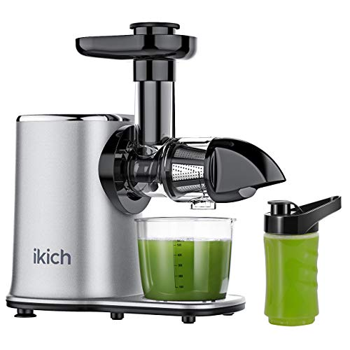 Fantastic Deal! IKICH Slow Juicer 2-Speed Slow Masticating Juicer Easy to Clean, High juice yield, Reverse Function Cold Press Juicer Machine with 500ml Portable Bottle and Recipes for Vegetables and Fruits-Silver