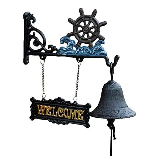 Guomipai Campana de Hierro Fundido Puerta de Hierro Fundido rústico Campana - Decorativo Vintage Antiguo Casa Raro Estilo decoración for la casa Exterior Campanas Decorativas