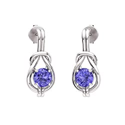 Tanzanite Gemstone Infinity Knot Solitaire Earrings in 14k White Gold