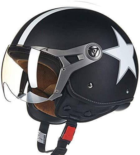 GXYS Cascos Half-Helmet Cascos Abiertos Casco De Motocicleta Certificado ECE Cruiser Chopper Scooter Ciclomotor Seguridad Anticolisión Cap Adulto Universal,B-XL=(61~62cm)