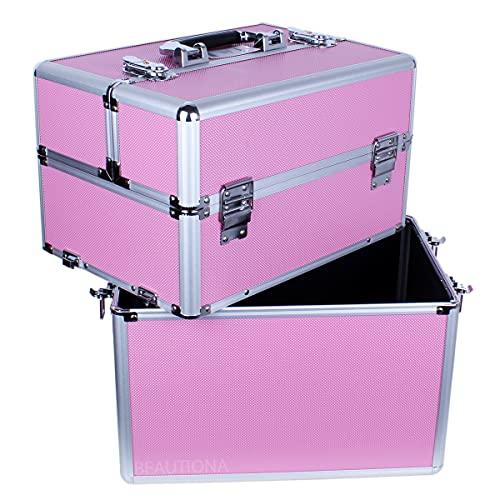 Make-up Case Cosmetics XL Eine große professionelle Kosmetikbox mit Griff, für Nagellack, UV-LED-Lampe, Fräsmaschine, Pinsel, Kosmetik. Schön pink Farbe