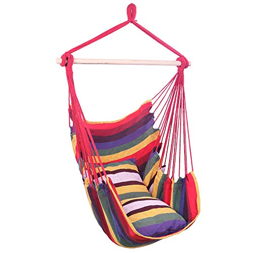 U-Kiss Hammock Chair Hanging Rope Swing-Max 250 Lbs,Canvas Cotton Rope Weaving Seat with 2 Cushions,Perfect for Yard, Bedroom, Patio, Porch, Indoor/Outdoor (Rainbow)