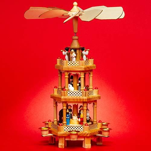 SIKORA P34 Pyramide de Noël Classique en Bois à 3 étages - H : 35 cm