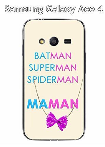 Onozo Coque Samsung Galaxy Ace 4 - SMG313M - G310 A - G310 H Design Maman vs Batman Collier de nouille